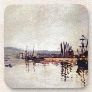 The Seine Below Rouen by Claude Monet Drink Coaster