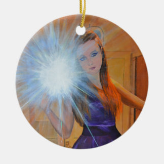 The Selfie Round Ceramic Ornament