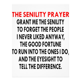 The Senility Prayer Personalized Letterhead