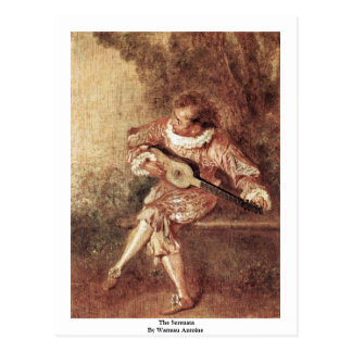 The Serenata By Watteau Antoine Postcard