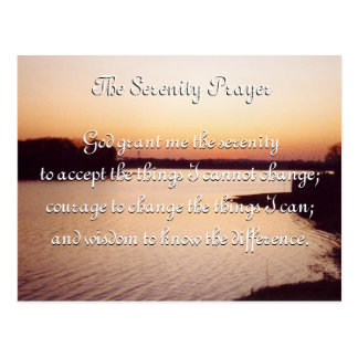 The Serenity Prayer sunset postcard