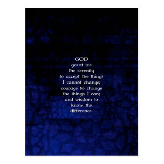 The Serenity Prayer With Blue Background Postcard