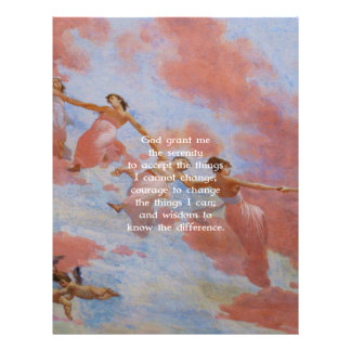 The Serenity Prayer With Flying Angels Painting Customized Letterhead