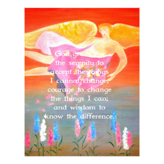 The Serenity Prayer with Folk Art Angel Painting Custom Letterhead