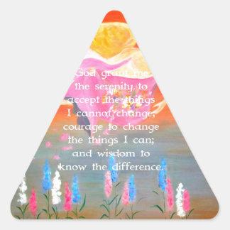 The Serenity Prayer with Folk Art Angel Painting Triangle Sticker