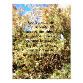 The Serenity Prayer with Nature Photo Bird Personalized Letterhead