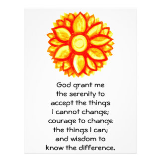 The Serenity Prayer with Red Yellow Lotus Blossom Letterhead Design