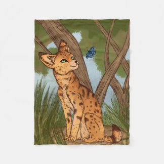 The Serval and the Butterfly Fleece Blanket