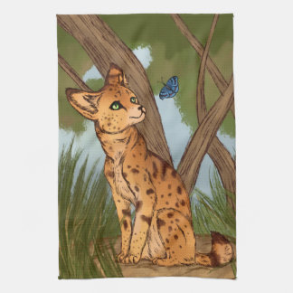 The Serval and the Butterfly Hand Towels