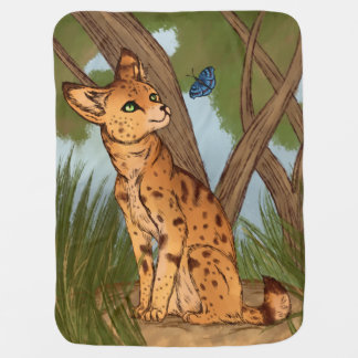 The Serval and the Butterfly Stroller Blankets