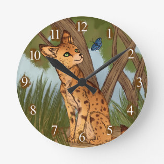 The Serval and the Butterfly Wallclock