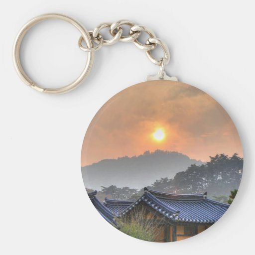 The Setting Sun in Asia Keychains