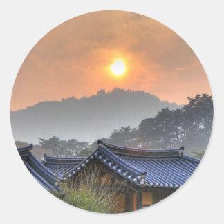 The Setting Sun in Asia Round Sticker