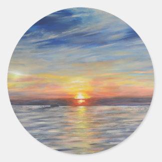 The Setting Sun Round Sticker