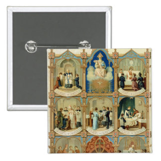The Seven Sacraments 2 Inch Square Button
