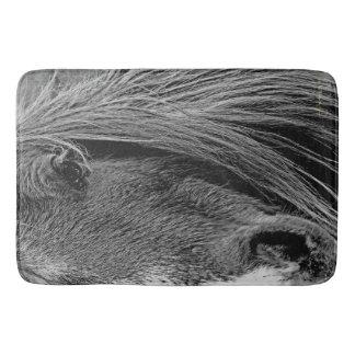 The Shadows in My Grey Bath Mat Western Horse