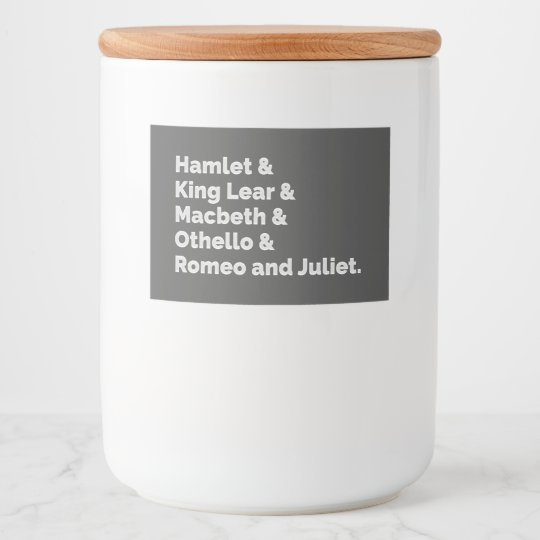 The Shakespeare Plays I Food Label