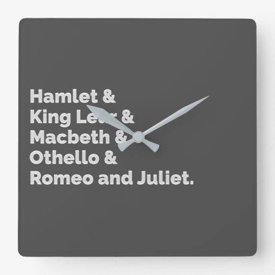 The Shakespeare Plays I Square Wall Clock