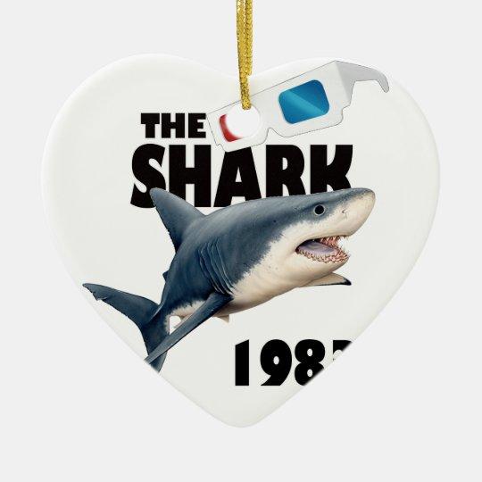The Shark Movie Ceramic Heart Ornament