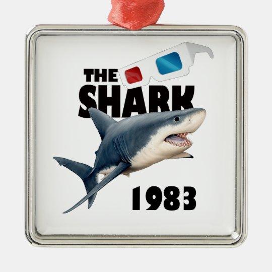 The Shark Movie Silver-Colored Square Ornament