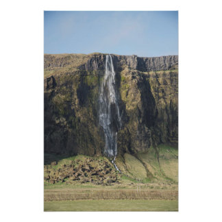 The sheer drop of an Icelandic waterfall. Poster