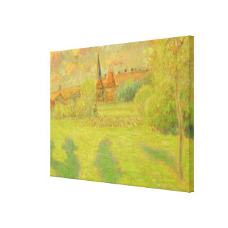 The shepherd and the church of Eragny Canvas Print