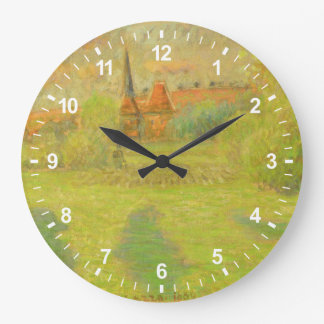 The Shepherd and the Church of Eragny Large Clock