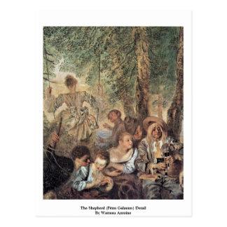 The Shepherd (Fêtes Galantes) Detail Postcard