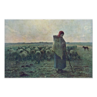 The Shepherdessdeutsch: Shepherdess By Millet  (Be Poster
