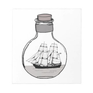 The ship in the glass bulb notepad