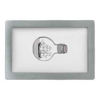 The ship in the glass bulb rectangular belt buckle