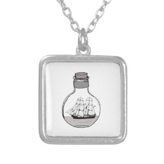 The ship in the glass bulb silver plated necklace