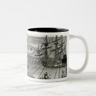 The Ship Making Alliance with the Eskimos Two-Tone Coffee Mug