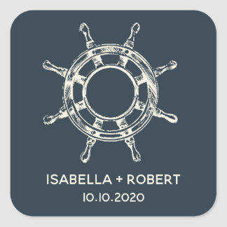 The Ship's wheel | Wedding Monogram Square Sticker