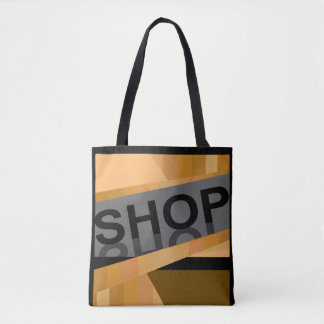 The SHOP Tote Bag -Earthtones on Black/Gray