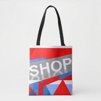 The SHOP Tote Bag -Red/White/Blue/Gray