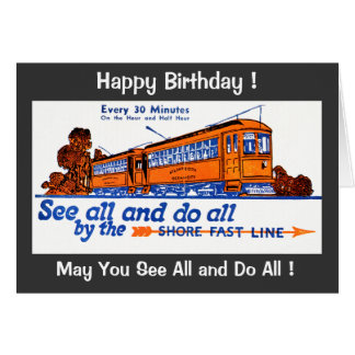 The Shore Fast Line Trolley Service Birthday Card