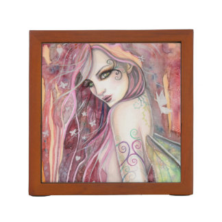 The Shy Flirt Fairy Modern Fantasy Art Desk Organizer