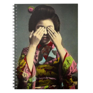 The Shy Geisha Vintage Old Japan Hand Colored Spiral Notebooks