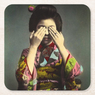 The Shy Geisha Vintage Old Japan Hand Colored Square Paper Coaster