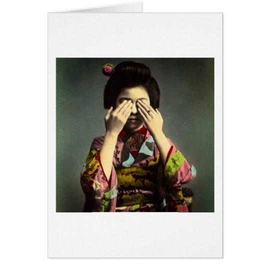 The Shy Geisha Vintage Old Japan Hand Coloured Card