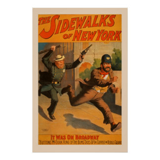 The Sidewalks of New York Broadway Vintage Poster