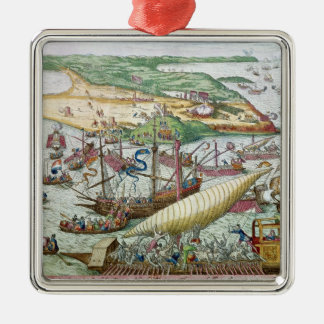 The Siege of Tunis or La Goulette by Charles V Silver-Colored Square Ornament