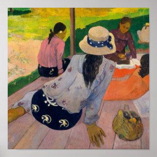 The Siesta by Paul Gauguin Tahitian Women Tahiti Poster