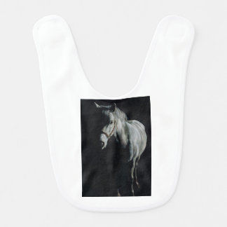 The Silver Horse in the shadows Baby Bib