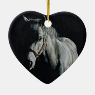 The Silver Horse in the shadows Ceramic Ornament
