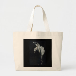 The Silver Horse in the shadows Large Tote Bag