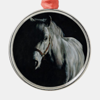 The Silver Horse in the shadows Metal Ornament