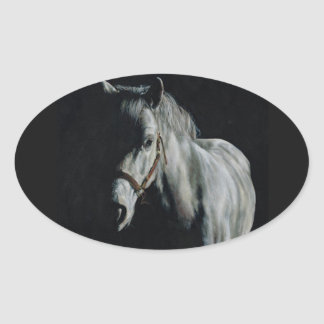The Silver Horse in the shadows Oval Sticker