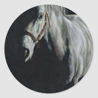 The Silver Horse in the shadows Round Sticker